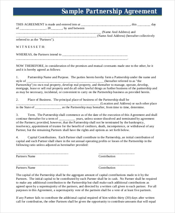7+ Sample Business Partnership Agreements \u2013 PDF, DOC Sample Templates - Partnership Agreement Format