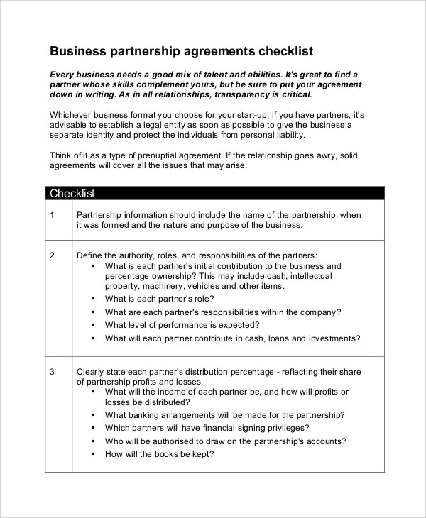 7+ Sample Business Partnership Agreements - PDF, DOC