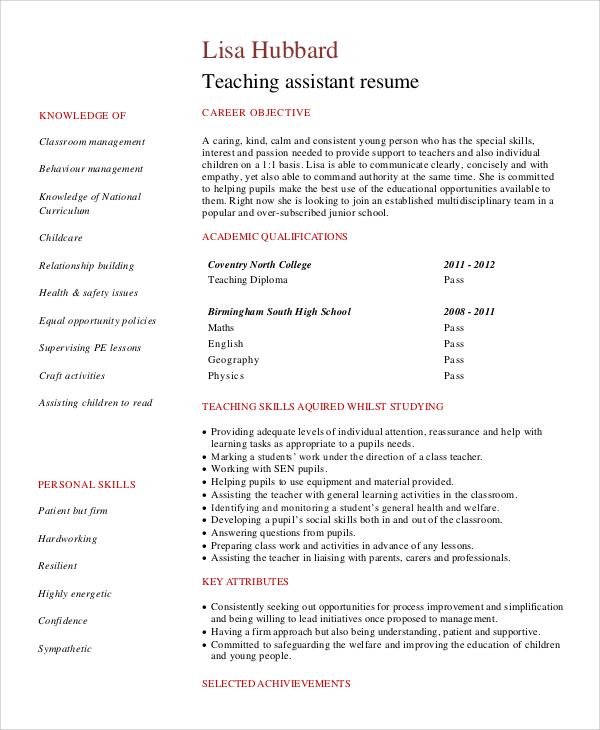 sample resume objectives for teacher assistant