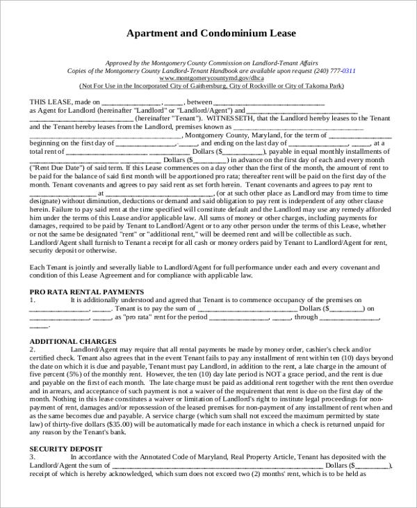 8+ Sample Apartment Lease Agreements \u2013 PDF, Word Sample Templates - basic lease agreement