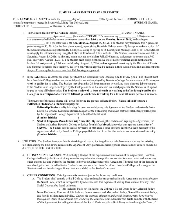 8+ Sample Apartment Lease Agreements \u2013 PDF, Word Sample Templates
