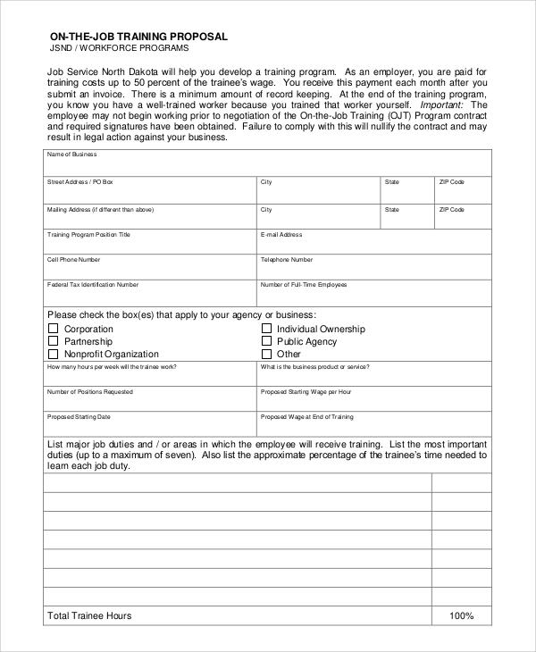 5+ Job Proposal Samples Sample Templates - training proposal template