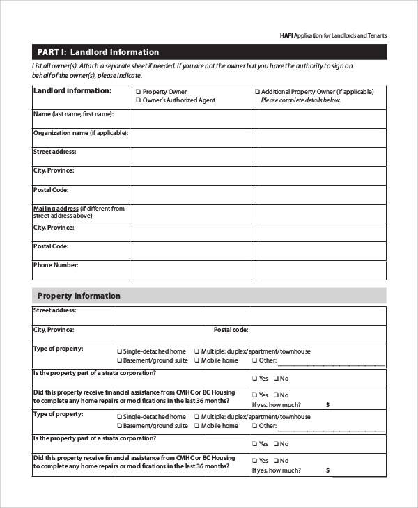 8+ Sample Tenant Application Forms Sample Templates - Tenant Information Form