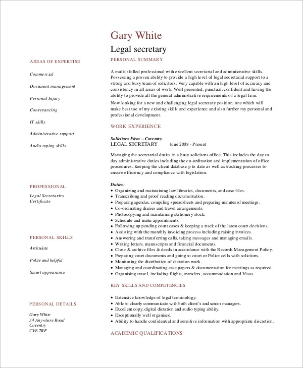8+ Sample Secretary Resumes Sample Templates - secretary qualifications resume