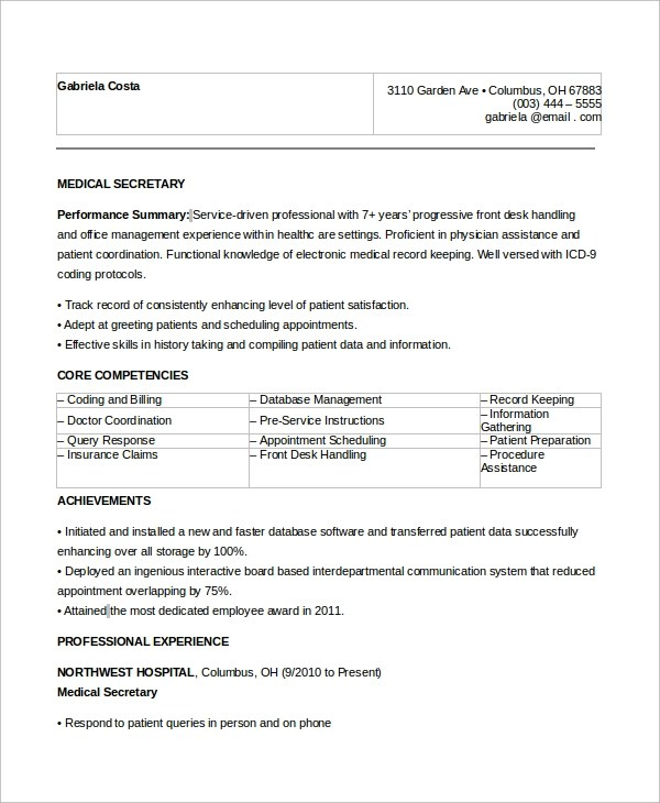 8+ Sample Secretary Resumes Sample Templates - medical secretary resume