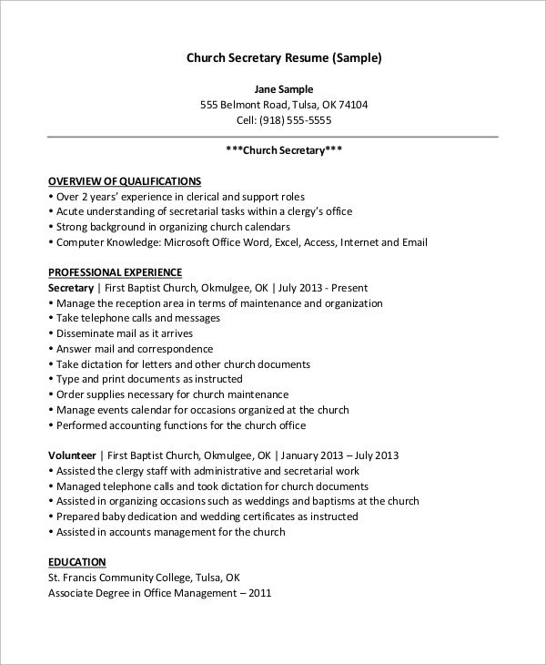 sample overview in resume