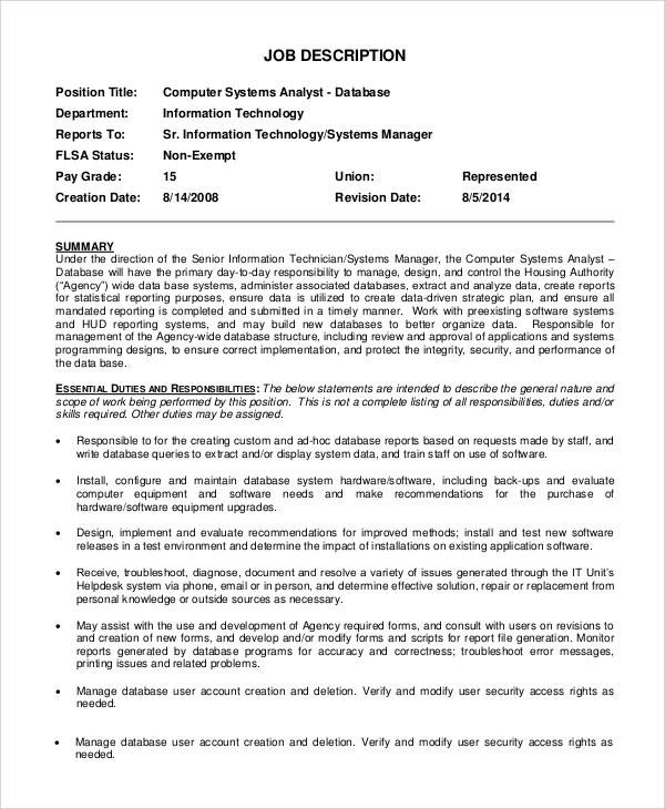 9+ Systems Analyst Job Description Samples Sample Templates - analyst job description