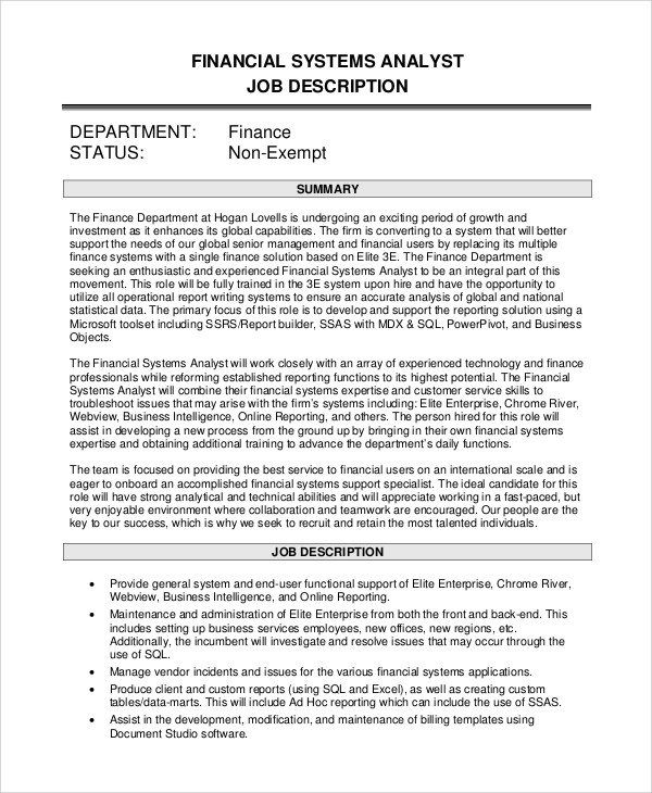 9+ Systems Analyst Job Description Samples Sample Templates