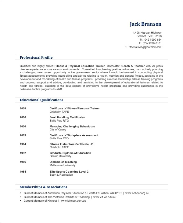 Sample Personal Trainer Resume - 9+ Examples in Word, PDF - personal trainer resume sample