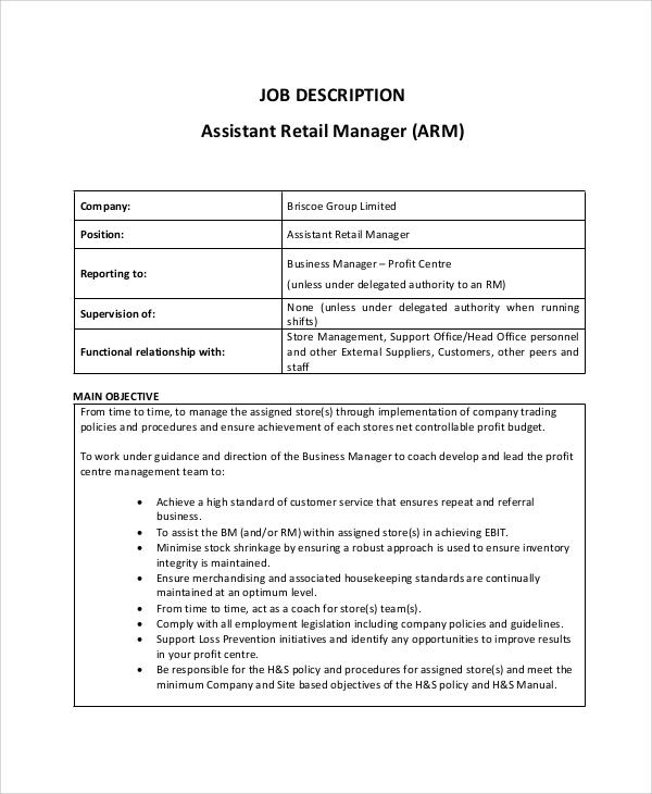 8+ Retail Job Description Samples Sample Templates