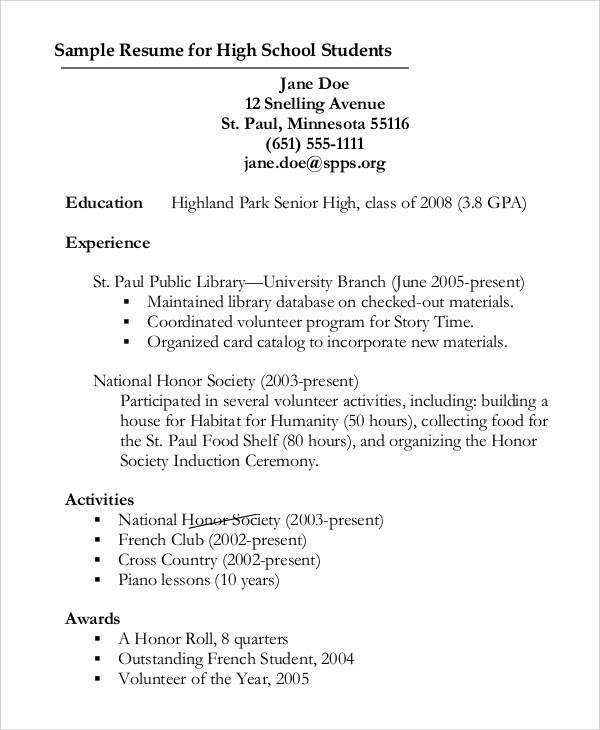 The Senior Resume For High School Students Wise Bread Sample Curriculum Vitae 10 Examples In Pdf Word