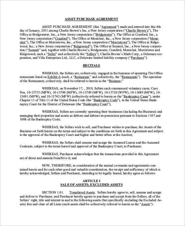 17+ Asset Purchase Agreement Samples and Templates \u2013 PDF, Word - asset purchase agreement template