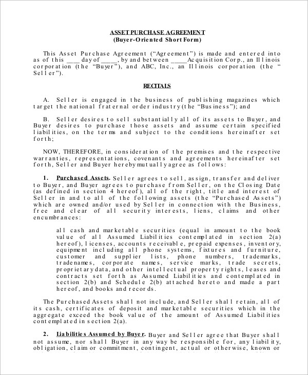 17+ Asset Purchase Agreement Samples and Templates \u2013 PDF, Word