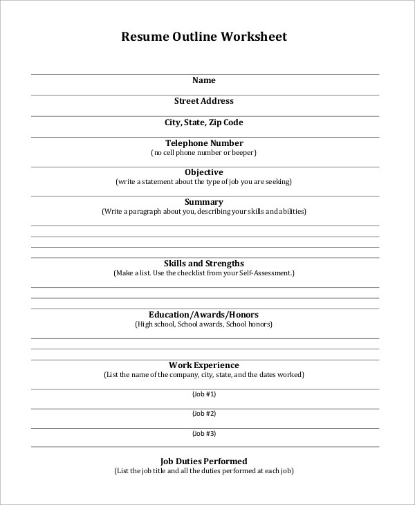 8+ Sample Resume Outlines Sample Templates - job resume outline templates