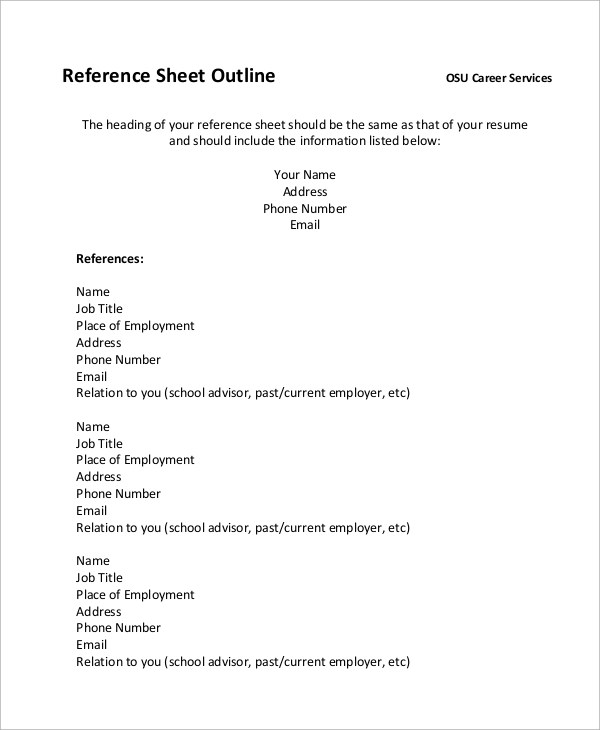 8+ Sample Resume Outlines Sample Templates