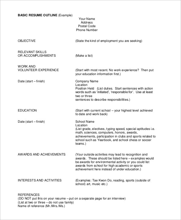 8+ Sample Resume Outlines Sample Templates - resume outline examples