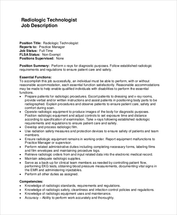 10+ Radiologist Job Description Samples Sample Templates - Radiology Service Engineer Sample Resume
