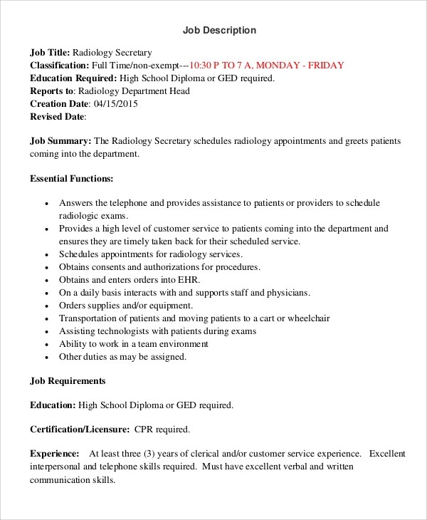 Job Description Template Word  EnvResumeCloud