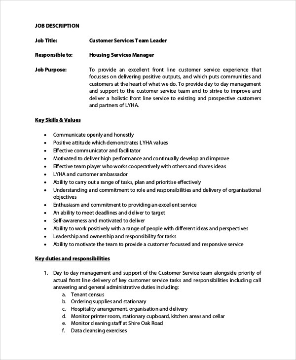 service manager job description hitecauto - customer service manager job description