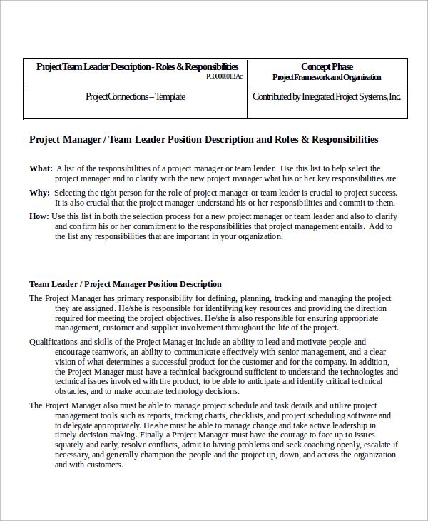 9+ Team Leader Job Description Samples, Examples, Templates Sample