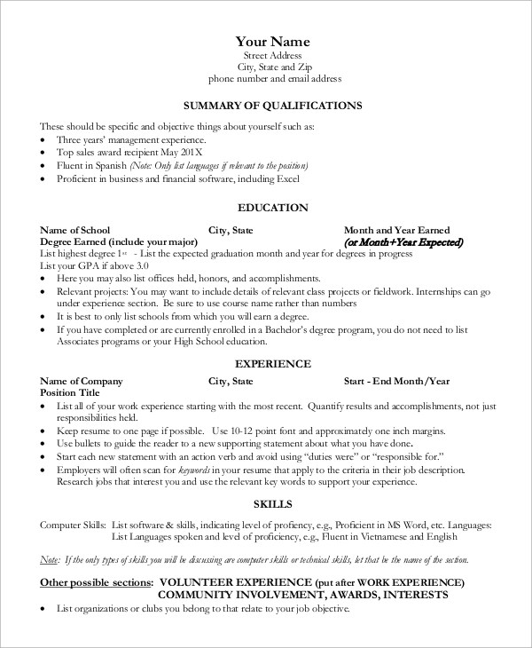 9+ Sample One Page Resumes Sample Templates - one page resumes