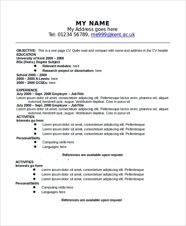 Sample One Page Resume   Thebridgesummit   One Page Resumes