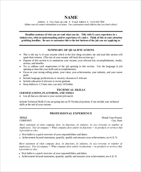 Sample One Page Resume - 9+ Examples in Word, PDF