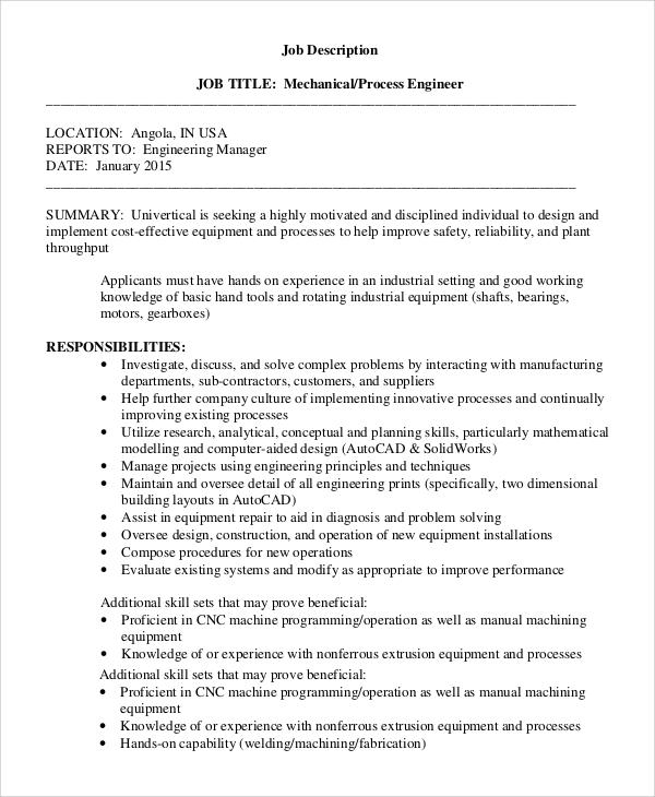 mechanical engineer job description pdf - Onwebioinnovate