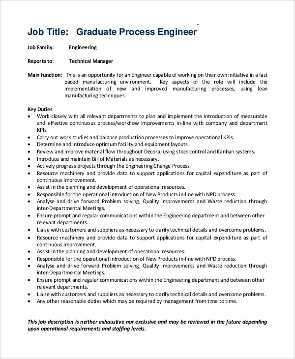 Sample Process Engineer Job Description - 10+ Examples in PDF - manufacturing engineer job description