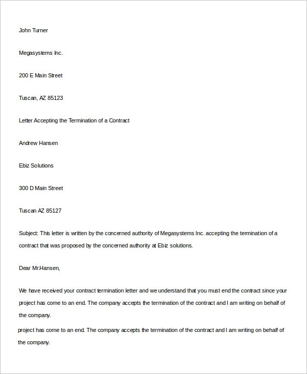 business contract termination letter templates