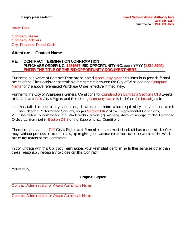 27+ Contract Termination Letters in PDF Sample Templates