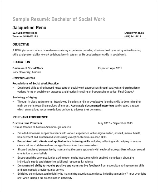 8+ Sample Objectives For Resume Sample Templates - Sample Social Work Resumes