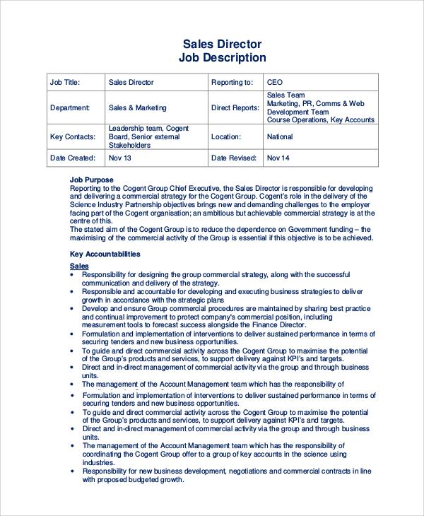 10+ Sales Job Description Samples Sample Templates - sales director job description