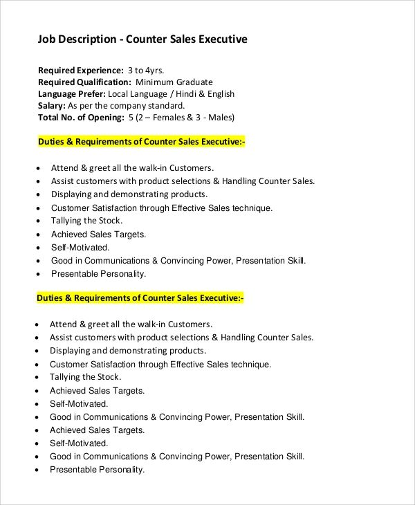 sales executive job responsibilities