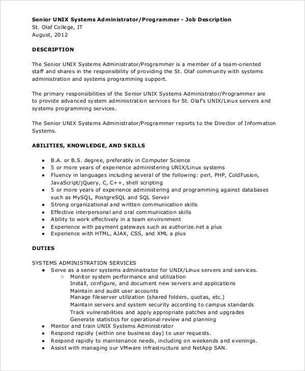 10+ System Administrator Job Description Samples Sample Templates - senior programmer job description