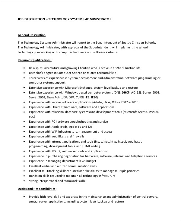 10+ System Administrator Job Description Samples Sample Templates