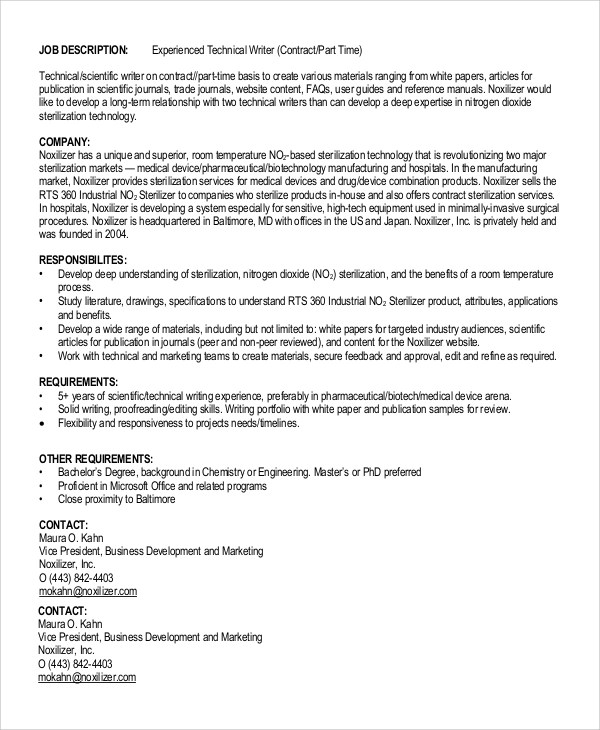 9+ Technical Writer Job Description Samples Sample Templates