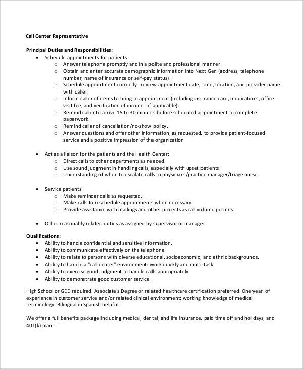 8+ Sample Call Center Resumes Sample Templates - call center rep resume