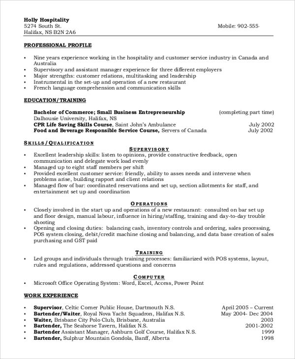 resume examples for a call center