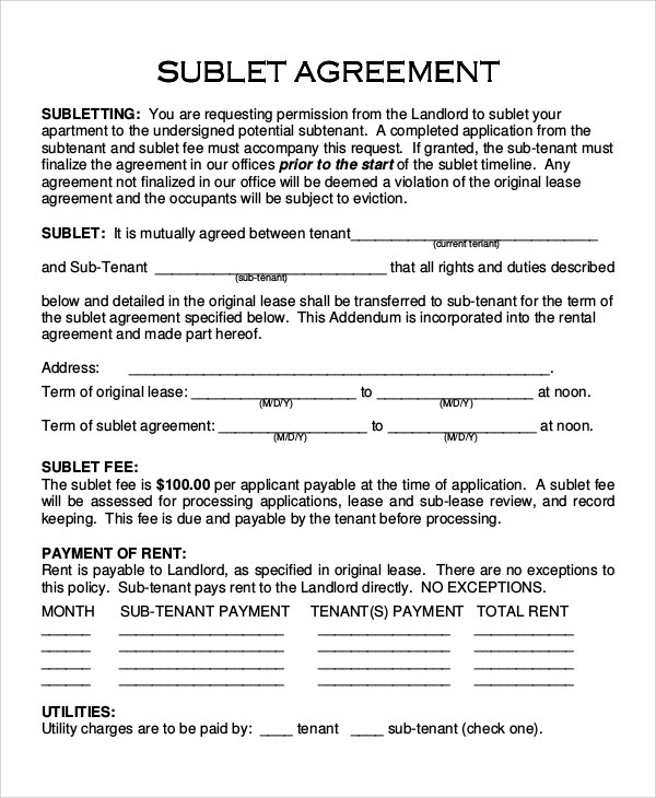 sublet agreement sle - 28 images - 28 retail lease agreement - master lease agreement