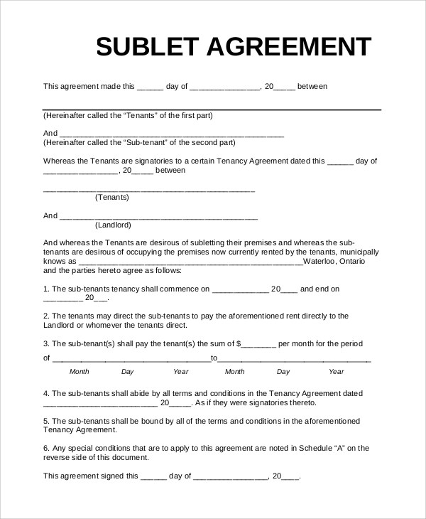... Sample Sublet Agreement   10+ Examples In PDF, Word   Sublet Agreement  ...