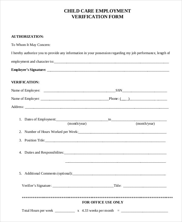Sample Verification of Employment Form - 10+ Examples in PDF, Word - employment verification forms