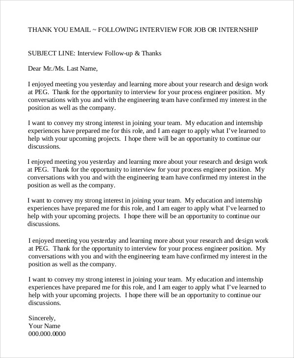 7+ Interview Thank You Email Samples Sample Templates - interview thank you email
