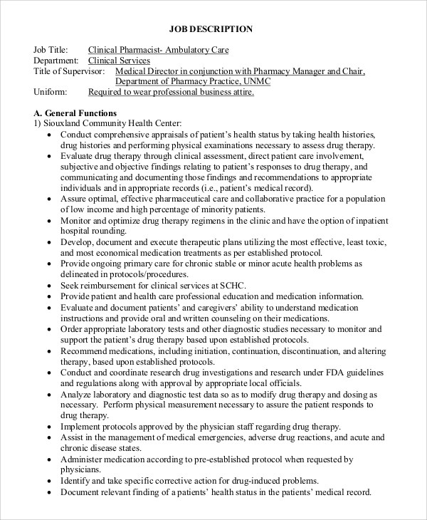 8+ Pharmacist Job Description Samples Sample Templates - ambulatory care pharmacist sample resume