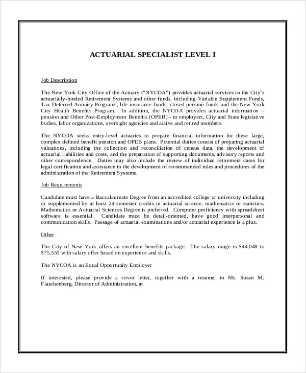 8+ Actuary Job Description Samples Sample Templates - actuary job description