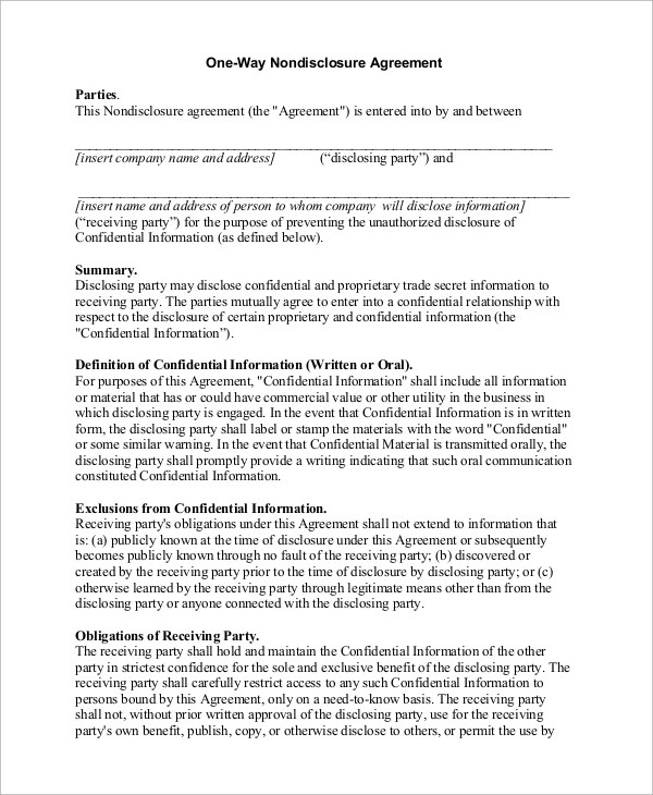 10+ Sample Non Disclosure Agreements in PDF Sample Templates - non disclosure agreements