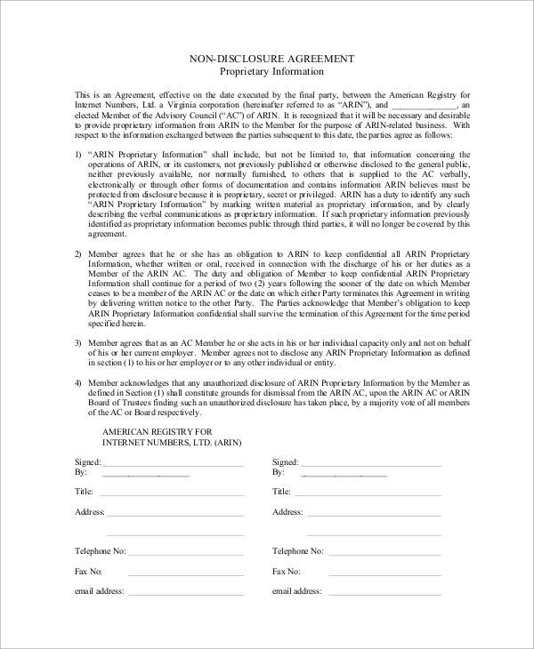 10+ Sample Non Disclosure Agreements in PDF Sample Templates
