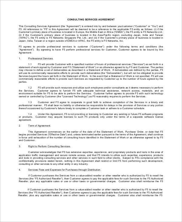consulting services agreement – Sample Reseller Agreement