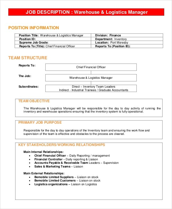 Sample Warehouse Manager Job Description 10 Examples In Pdf Word Logistics  Job   Warehouse Stocker Job
