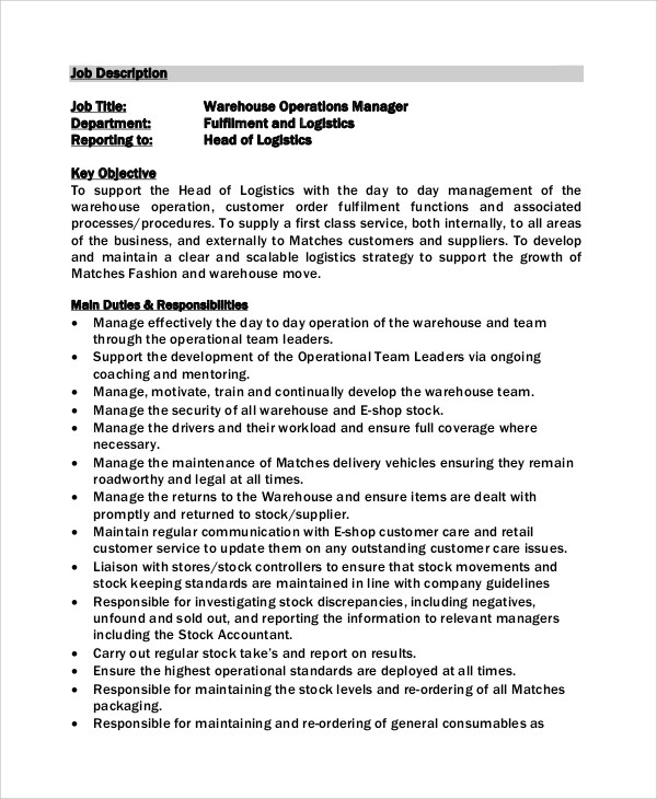 Operation Manager Job Description Operations Manager